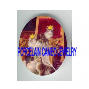 2 VICTORIAN CROWN KITTY CAT CHAIR * UNSET PORCELAIN CAMEO CAB