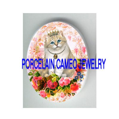PRINCESS CROWN KITTY CAT ROSE BUTTERFLY   * UNSET PORCELAIN CAMEO CAB