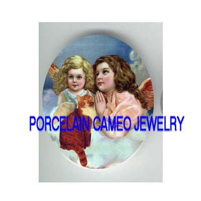 2 VICTORIAN ANGEL GIRL ANGEL KITTY CAT   * UNSET PORCELAIN CAMEO CAB