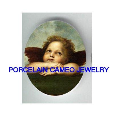 RAPHAEL ANGEL CHERUB  * UNSET PORCELAIN CAMEO CAB