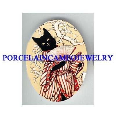 JAPAN GEISHA BLACK CAT CHERRY BLOSSOM PORCELAIN CAMEO