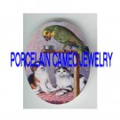 2 VICTORIAN KITTY CAT PAYING WITH PARROT BIRD * UNSET PORCELAIN CAMEO CAB