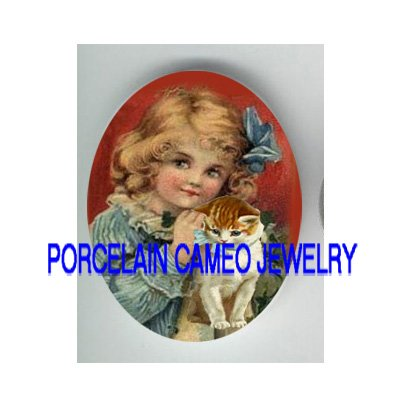 VICTORIAN BLUE RIBBON GIRL WITH KITTY CAT  * UNSET PORCELAIN CAMEO CAB