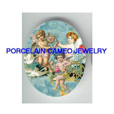 3 VICTORIAN ANGEL CHERUB DOVE CHARIOT   * UNSET PORCELAIN CAMEO CAB