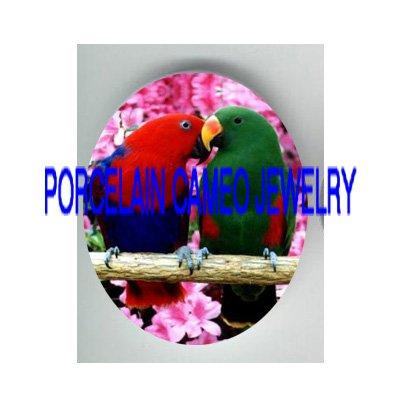 2 ELECTUS KISSING PARROT BIRD CHERRY BLOSSOM   * UNSET PORCELAIN CAMEO CAB