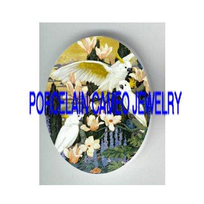 3 COCKATOO BIRD DOGWOOD PORCELAIN CAMEO CAB 18X25MM