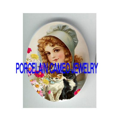 VICTORIAN BLUE HOOD GIRL 2 KITTY CAT DAISY  * UNSET PORCELAIN CAMEO CAB