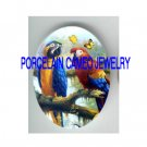 2 PARROT MACAW BIRD BUTTERFLY  * UNSET PORCELAIN CAMEO CAB