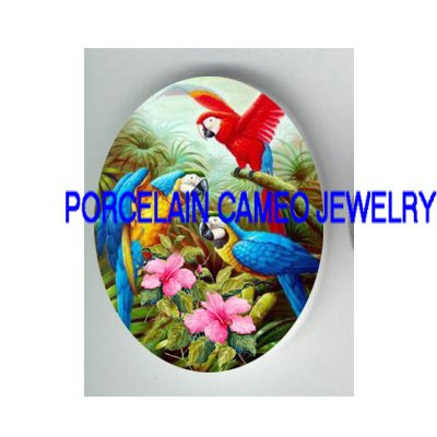 3 PARROT MACAW COLLAGE HIBISCUS PORCELAIN CAMEO30X40