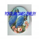 2 BLUE  PARROT MACAW BIRD ROSE PORCELAIN CAMEO CAB 18X25MM