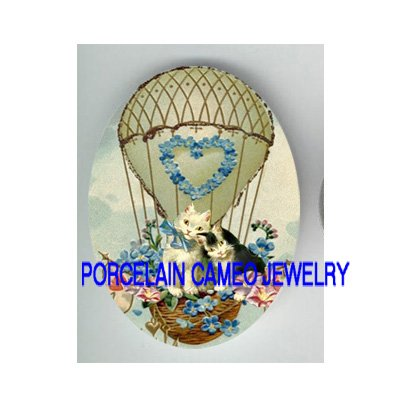 2 VICTORIAN KITTY CAT FORGET ME NOT HEART BALLOON* UNSET PORCELAIN CAMEO CAB