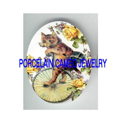 VICTORIAN KITTY CAT RIDING BICYCLE ROSE VIOLET* UNSET PORCELAIN CAMEO CAB