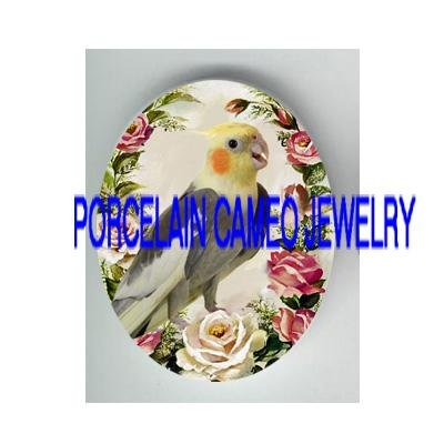 COCKATOO COCKATIEL BIRD PINK ROSE * UNSET PORCELAIN CAMEO CAB