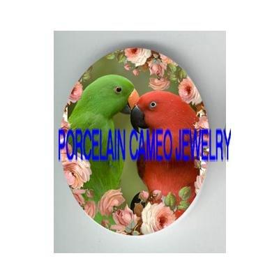 2 KISSING ELECTUS PARROT COUPLE BIRD ROSE   * UNSET PORCELAIN CAMEO CAB