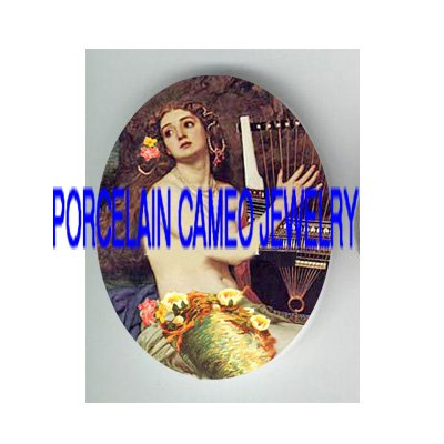 VICTORIAN FLOWER MERMAID PLAY HARP* UNSET PORCELAIN CAMEO CAB