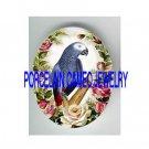 AFRICAN GREY PARROT BIRD PINK ROSE PORCELAIN CAMEO 18X25