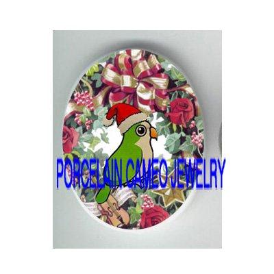 BABY SANTA HAT PARAKEET BUDGIE BIRD ROSE WREATH PORCELAIN CAMEO 18X25