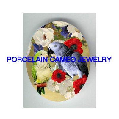 AFRICAN GREY KISS PARAKEET BUDGIE  POPPY PORCELAIN CAMEO 18X25MM