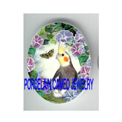 COCKATIEL BIRD BUTTERFLY MORNING GLORY PORCELAIN CAMEO CAB 18X25