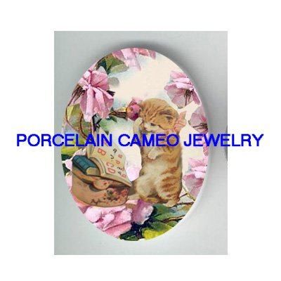 VICTORIAN KITTY CAT LEARN ABC ROSE* UNSET PORCELAIN CAMEO CAB
