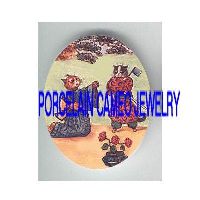 GEISHA ORIENTAL KITTY CAT PLAY SHOW PORCELAIN CAMEO CAB