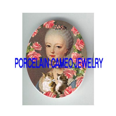YOUNG MARIE ANTOINETTE KITTY CAT ROSE CAMEO PORCELAIN CAB