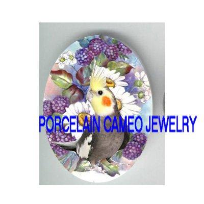 COCKATIEL BIRD DAISY BERRY PORCELAIN CAMEO 18X25 CAB