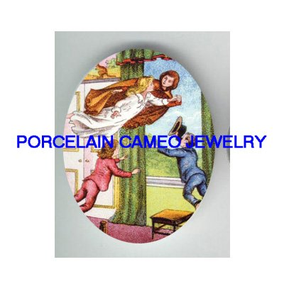 VICTORIAN PETER PAN CHILDREN NEVERLAND* UNSET PORCELAIN CAMEO CAB