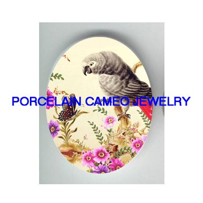 AFRICAN GREY PARROT PLAY BUTTERFLY PORCELAIN CAMEO 18X25