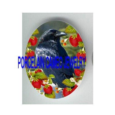 CROW RAVEN BIRD EAT STRAWBERRY PORCELAIN CAMEO 18X25MM