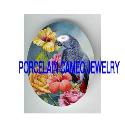 AFRICAN GREY BIRD HIBISCUS ROSE PORCELAIN CAMEO 18X25MM