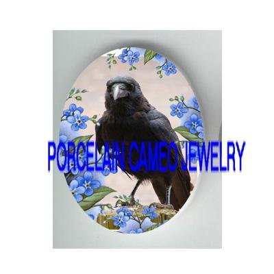 CROW RAVEN BIRD FORGET ME NOT PORCELAIN CAMEO CAB 18X25 MM