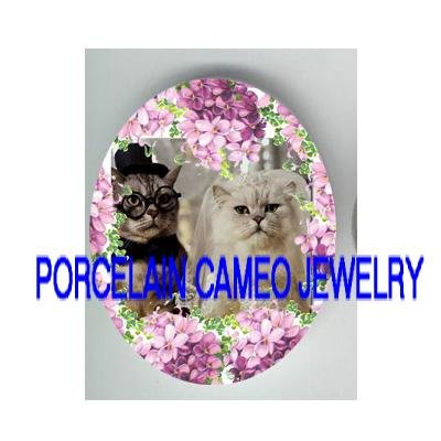 PERSIAN TABBY CAT WEDDING VIOLET  * UNSET PORCELAIN CAMEO CAB