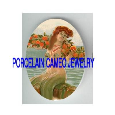 VICTORIAN MERMAID WITH ROSE* UNSET PORCELAIN CAMEO CAB