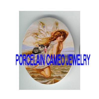 VICTORIAN MERMAID GODDESS FAIRY WITH KITTY CAT  * UNSET PORCELAIN CAMEO CAB