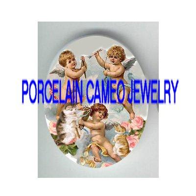 VICTORIAN ANGEL CHERUB KITTY CAT ROSE* UNSET PORCELAIN CAMEO CAB