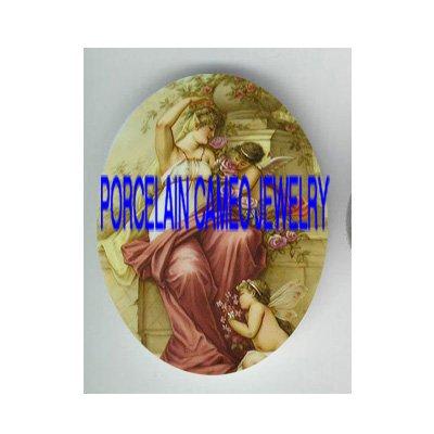 VICTORIAN ANGEL CHERUB GODDESS ROSE* UNSET PORCELAIN CAMEO CAB