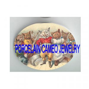 VICTORIAN KITTY CAT PARTY DANCING MUSIC BAR* UNSET PORCELAIN CAMEO CAB