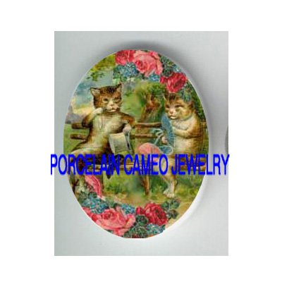 VICTORIAN KITTY CAT DATING COUPLE ROSE * UNSET PORCELAIN CAMEO CAB