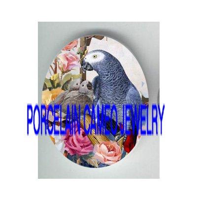 AFRICAN GREY PARROT BIRD MOM BABY ROSE PORCELAIN CAMEO CAB 18X25MM