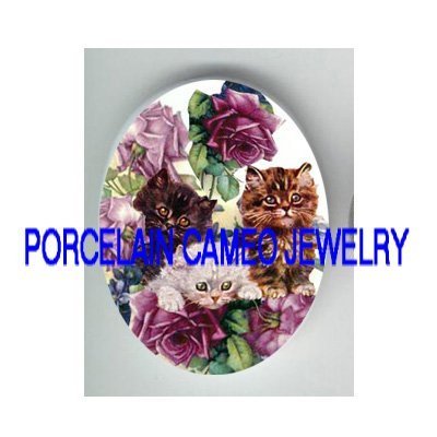 3 VICTORIAN KITTY CAT VIOLET ROSE* UNSET PORCELAIN CAMEO CAB