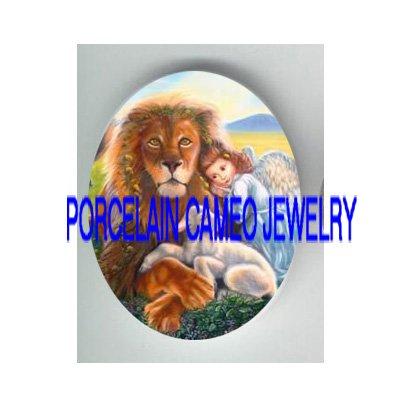 RELIGIOUS ANGEL LION AND LAMB PORCELAIN CAMEO CAB