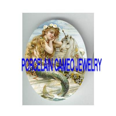 VICTORIAN FLOWER MERMAID WITH UNICORN HORSE * UNSET PORCELAIN CAMEO CAB