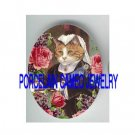 VICTORIAN QUEEN KITTY CAT ROSE VIOLET* UNSET PORCELAIN CAMEO CAB