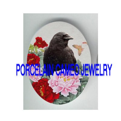 CROW RAVEN CHINESE PEONY BUTTERFLY PORCELAIN CAMEO18X25