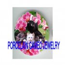 3 VICTORIAN KITTY CAT PINK ORCHID * UNSET PORCELAIN CAMEO CAB