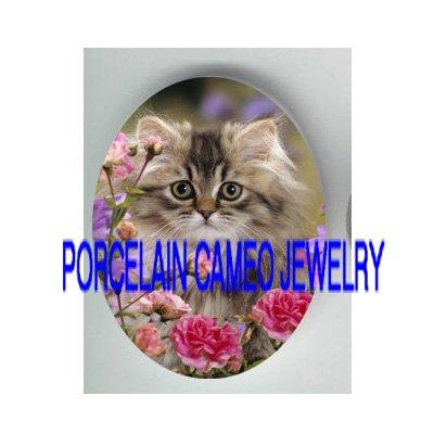 GREY PERSIAN KITTY CAT WILD ROSE PORCELAIN CAMEO CAB