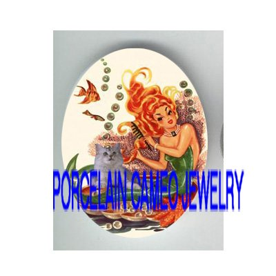 VICTORIAN MERMAID KITTY CAT FISH * UNSET PORCELAIN CAMEO CAB