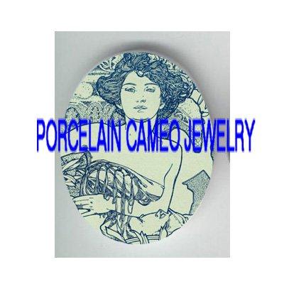 DANISH BLUE  ALPHONSE MUCHA FLOWER LADY * UNSET PORCELAIN CAMEO CAB