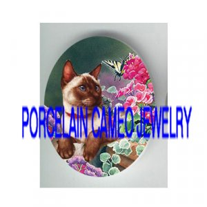 SIAMESE CAT CHASE BUTTERFLY FLOWER* UNSET PORCELAIN CAMEO CAB